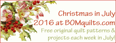 """Christmas in July 2016"" Original Quilt Patterns & Projects Designed by TK Harrison. Owner & Founder of BOMquilts.com!"
