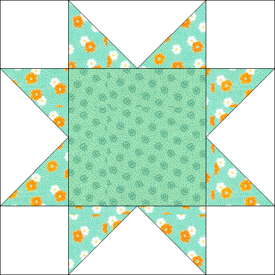 """Sawtooth Star Quilt Block for """"Windowsill Wonders"""" 2018 Row of the Month Quilt from BOMquilts.com!"""