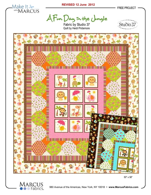 """A Fun Day in the Jungle"" Free Baby Quilt Pattern designed by Heidi Pridemore from Marcus Fabrics"