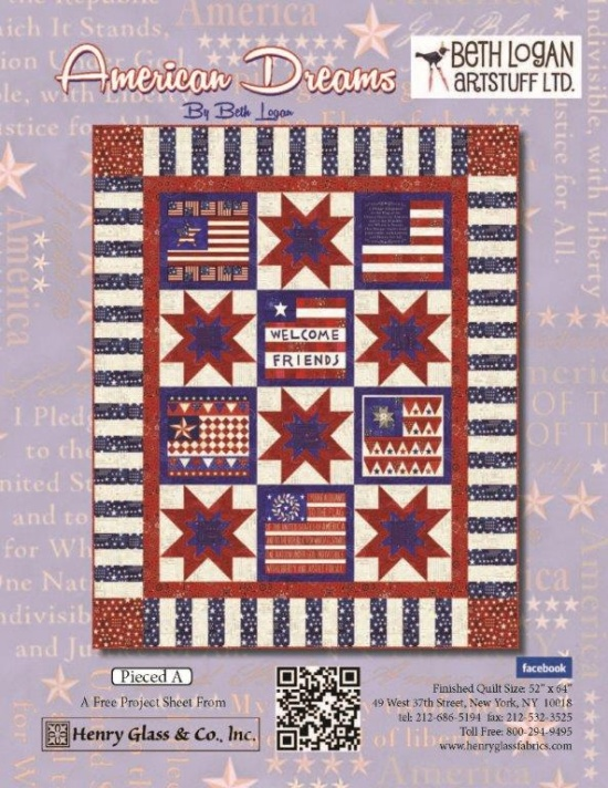 """American Dreams - Pieced Pattern A"" Free Quilt Pattern designed by Beth Logan from Henry Glass Fabrics"
