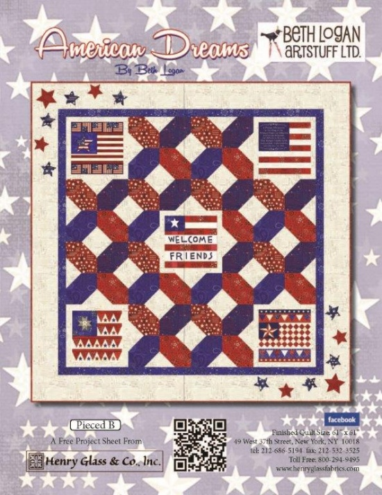 """American Dreams - Pieced Pattern B"" Free Quilt Pattern   designed by Beth Logan from Henry Glass Fabrics"