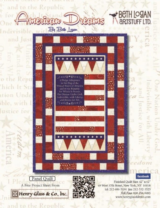 """American Dreams"" Free Quilt Pattern designed by Beth   Logan from Henry Glass Fabrics"