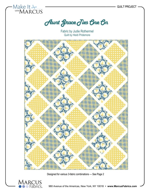 """Aunt Grace Ties One On"" Free Baby Quilt Pattern designed by Heidi Pridemore from Marcus Fabrics"