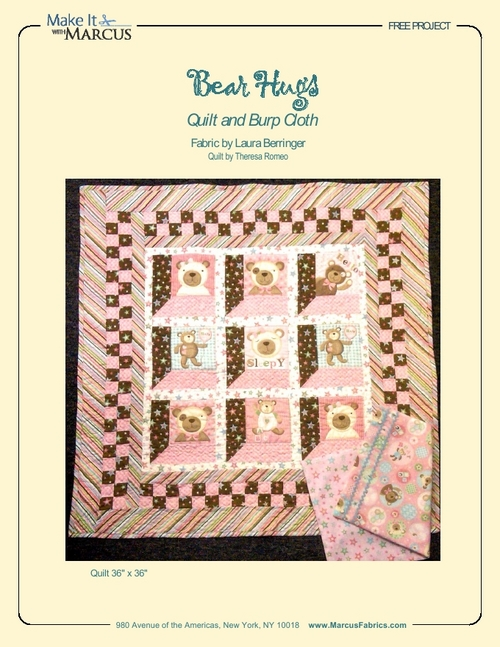 """Bear Hugs"" Free Baby Quilt Pattern designed by Theresa Romeo from Marcus Fabrics"