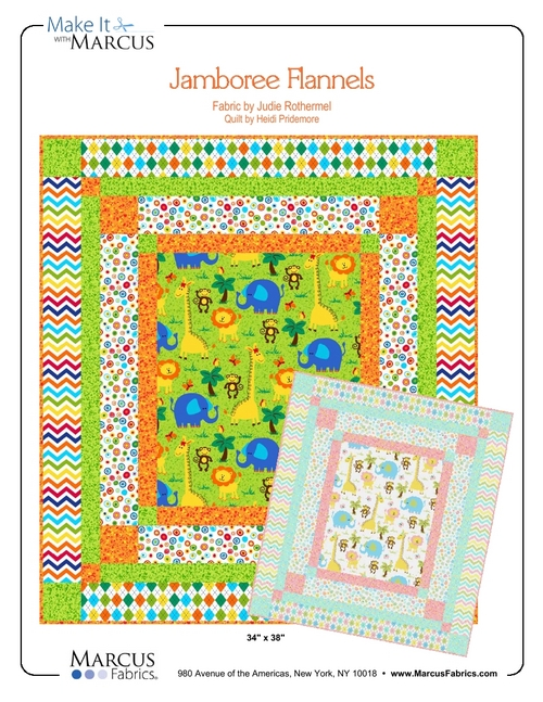 """Jamboree Flannels"" Free Baby Quilt Pattern designed by Heidi Pridemore from Marcus Fabrics"