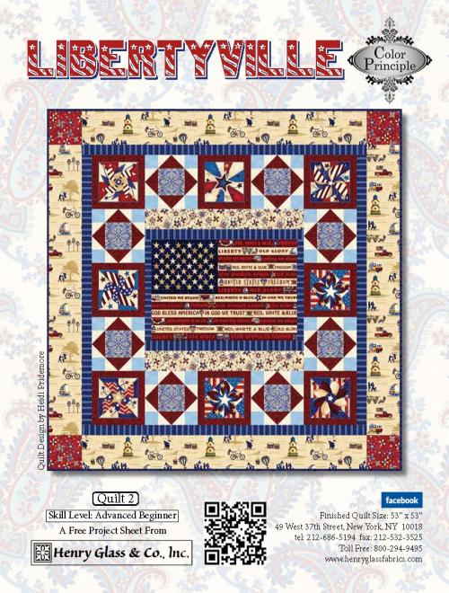 """Libertyville"" Free Quilt Pattern designed by Color Principle from Henry Glass Fabrics"
