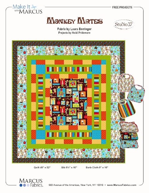 """Monkey Mates"" Free Baby Quilt Pattern designed by Heidi Pridemore from Marcus Fabrics"