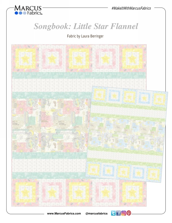 """Songbook: Little Star Flannel"" Free Baby Quilt Pattern designed by Laura Berringer from Marcus Fabrics"