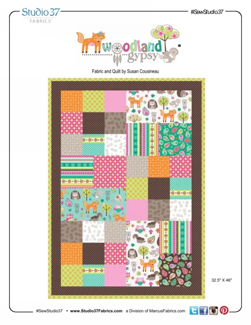 """Woodland Gypsy"" Free Baby Quilt Pattern designed by Susan Cousineau from Marcus Fabrics"