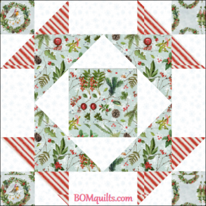 """Christmas Treetop Gathering"" free Christmas in July 2018 24"" finished block set and table topper, an original pattern by TK Harrison from BOMquilts.com!"