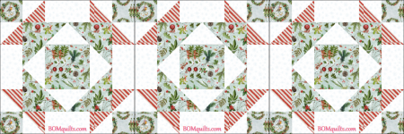 """Christmas Treetop Gathering"" free Christmas in July 2018 bed runner, an original pattern by TK Harrison from BOMquilts.com!"
