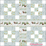 """Friendly Forest Gathering"" free original Christmas in July 2018 block set pattern by TK Harrison from BOMquilts.com!"