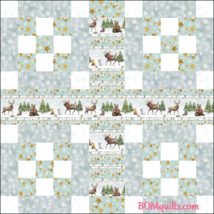 """Friendly Forest Gathering"" free Christmas in July 2018 24"" finished block set table topper original pattern by TK Harrison from BOMquilts.com!"