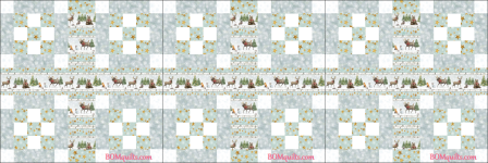 """Friendly Forest Gathering"" free Christmas in July 2018 24"" finished block set bed runner original pattern by TK Harrison from BOMquilts.com!"