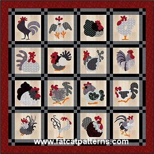 """What the Cluck?"" Free Quilt Pattern designed by Sindy Rodenmayer from Fat Cat Patterns"