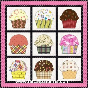 """""""Cup Cakes"""" Free Quilt Pattern designed by Sindy   Rodenmayer from Fat Cat Patterns"""