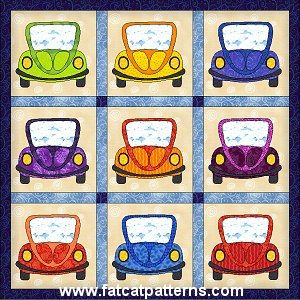 """Silly Cars"" Free Quilt Pattern designed by Sindy Rodenmayer from Fat Cat Patterns"