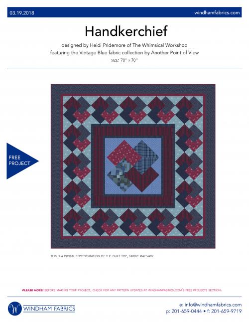 """Handkerchief"" Free Quilt Pattern designed by the Heidi Pridemore of The Whimsical Workshop from Windham Fabrics"
