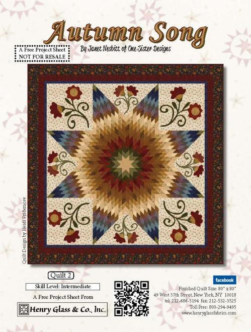 """Autumn Song"" Free Quilt Pattern designed by Heidi Pridemore from Henry Glass Fabrics"