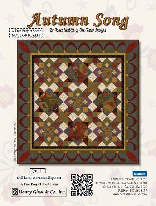 """Autumn Song Quilt 1"" Free Quilt Pattern designed by Heidi Pridemore from Henry Glass Fabrics"