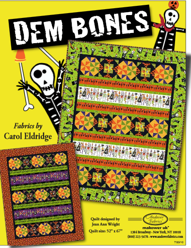 """Dem Bones"" Free Quilt Pattern designed by Jean Ann Wright from Andover Fabrics"
