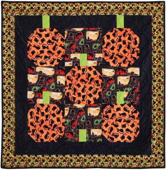 """Pumpkin Boo"" Free Quilt Pattern designed by Joanie Holton & Melonie Gresethk from Free Spirit"