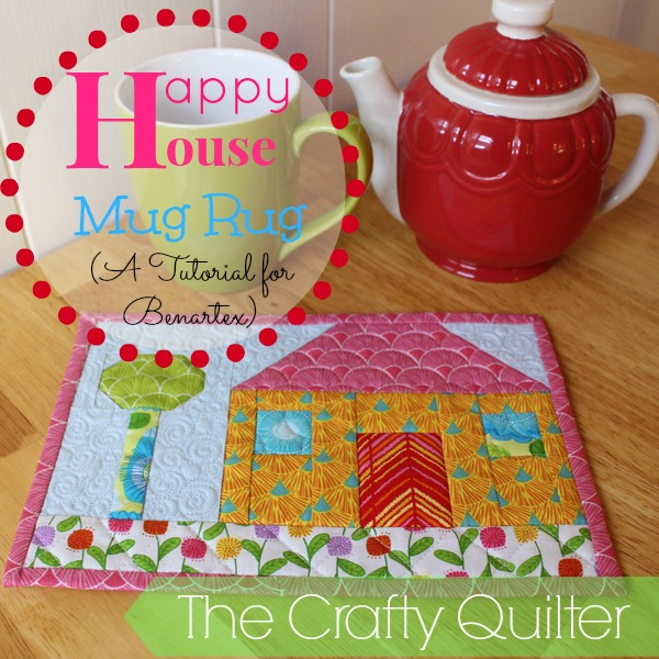 """Happy House"" Free Quilted Mug Rug Pattern designed by Julie Cefalu from The Crafty Quilter"