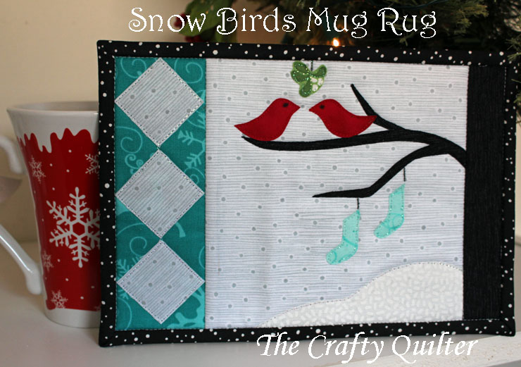 """Snow Birds"" Free Quilted Mug Rug Pattern designed by Julie Cefalu from The Crafty Quilter"