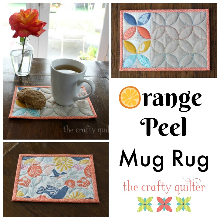 """Orange Peel"" Free Quilted Mug Rug Pattern designed by Julie Cefalu from The Crafty Quilter"