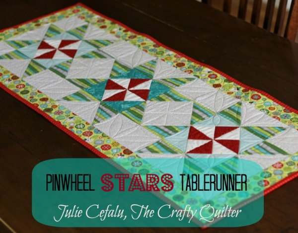 """Pinwheel Stars Table Runner"" Free Pattern designed by Julie Cefalu from The Crafty Quilter"