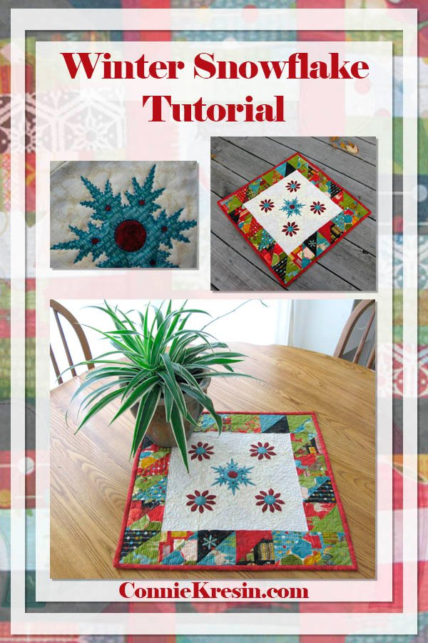 """Winter Snowflake Table Topper Tutorial"" Free Pattern designed by Julie Cefalu from The Crafty Quilter"