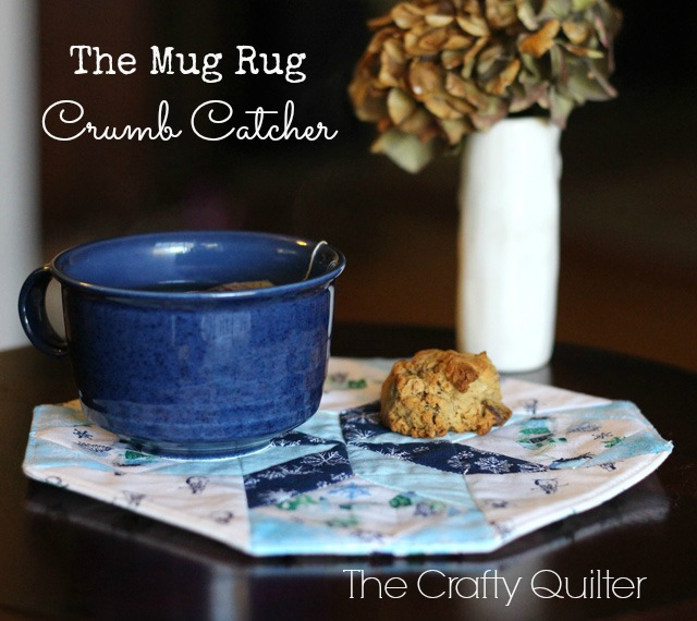 """Crumb Catcher"" Free Quilted Mug Rug Pattern designed by Julie Cefalu from The Crafty Quilter"