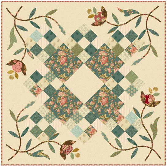 """Crystal Farm"" Free Appliqué Quilt Pattern designed by Edyta Sitar from Andover Quilts"