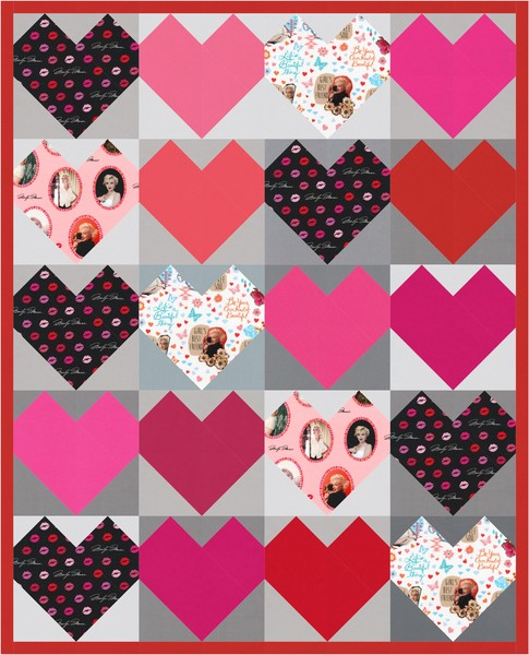 """I Heart Marilyn"" Free Quilt Pattern designed by and brought to you by Robert Kaufman Fabrics"