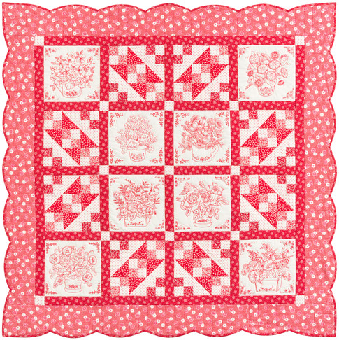 """Love in Bloom"" Free Quilt Pattern designed by Darlene Zimmerman from FeedSacklady.com  brought to you by Robert Kaufman Fabrics"