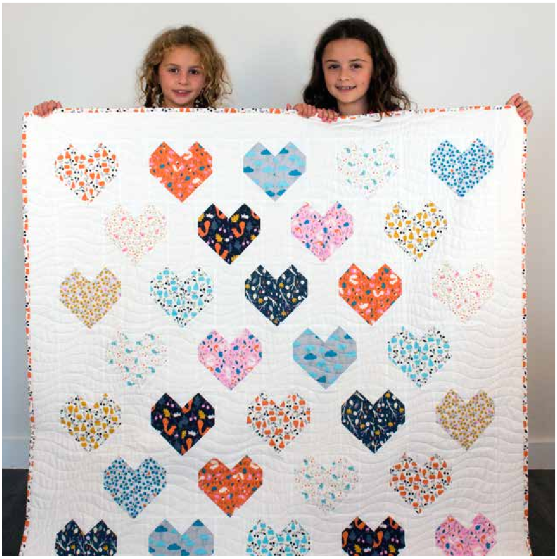"""Sweethearts Quilt"" Free Quilt Pattern designed by Michelle Engel Bencsko brought to you by Cloud 9 Fabrics"