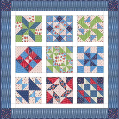 """Harry Loves Alice"" 2019 Free BOM Quilt Pattern designed by TK Harrison from BOMquilts.com"