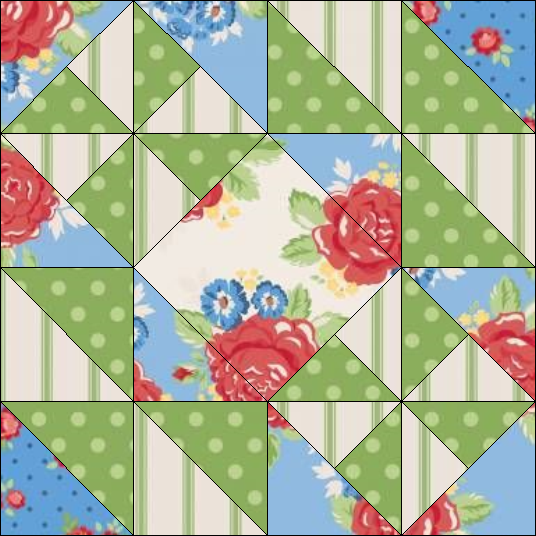 """Harry Loves Alice"" 2019 Block of the Month Quilt from BOMquilts.com - Block #3 Hither & Yon"