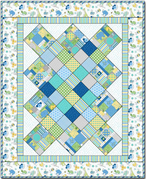 """Little One Boy Quilt"" Free Pattern designed by Grace Wilson from Maywood Studio"