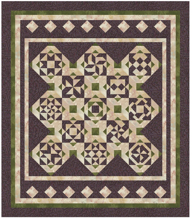 """Purple Sage"" Free BOM Pattern designed by LeAnn Weaver from Persimmon Quilts"