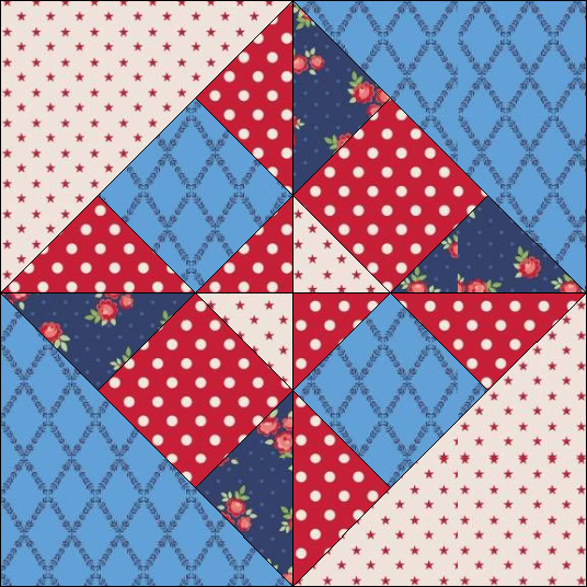 """Harry Loves Alice"" 2019 Block of the Month Quilt from BOMquilts.com - Block #7 Storm Signal"