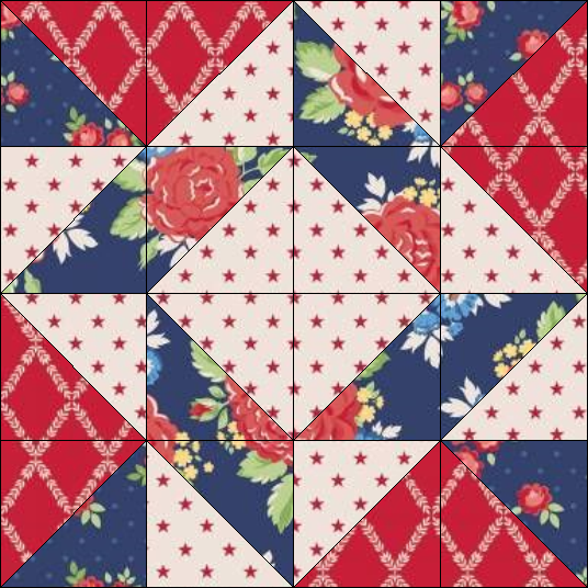 """Harry Loves Alice"" 2019 Block of the Month Quilt from BOMquilts.com - Block #4 Whirlpool"
