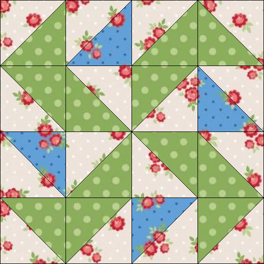 """Harry Loves Alice"" 2019 Block of the Month Quilt from BOMquilts.com - Block #9 Yankee Puzzle"