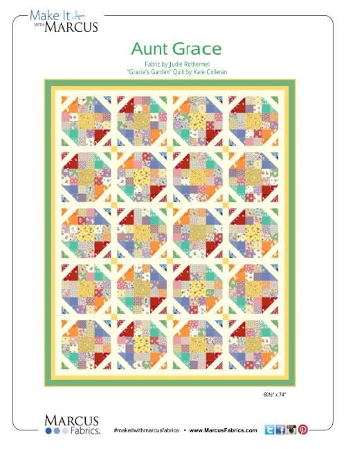 """Gracie's Garden"" Free Pattern designed by Kate Colleran from Marcus Fabrics"