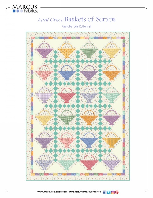 """Basket of Scraps Basket Quilt"" Free Pattern designed by Judie Rothermel from Marcus Fabrics"