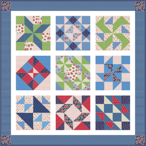 """Harry Loves Alice"" 2019 Free Block of the Month Quilt and Pattern designed by TK Harrison"