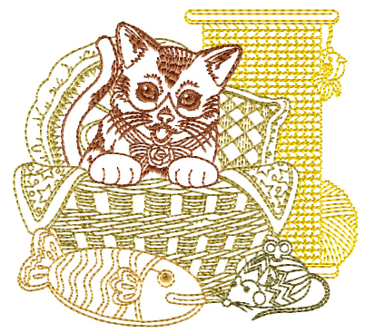 """Cat-N-Yarn"" Free Machine Embroidery Pattern from ABC Embroidery Designs"