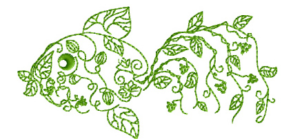 """Garden Fish"" Free Machine Embroidery Pattern from ABC Embroidery Designs"