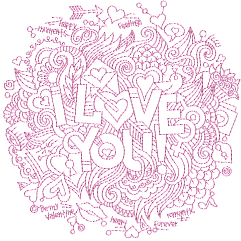 """I Love You"" Free Machine Embroidery Pattern from ABC Embroidery Designs"