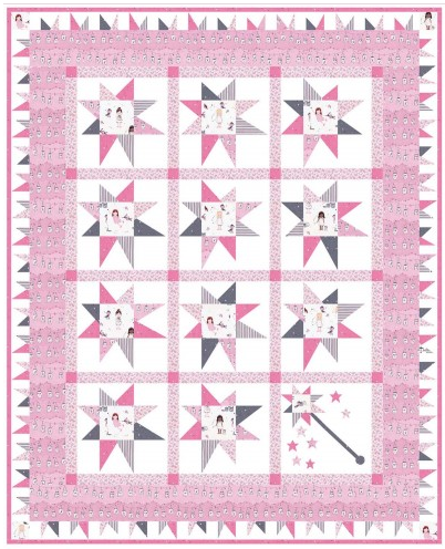 """Twinkle Fairies Quilt"" Free Pattern designed by Marsha Evans Moore from Michael Miller Fabrics"